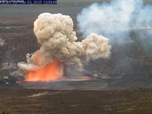 A portion of the Halemaʻumaʻu Crater wall collapsed Sunday. USGS/HVO photo.