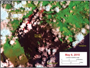 This satellite image was captured on Wednesday, May 6,  by the Landsat 8 satellite. Although this is a false-color image, the color map has been chosen to mimic what the human eye would expect to see. Bright red pixels depict areas of very high temperatures and show active lava. White areas are clouds. USGS/HVO map.