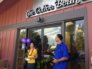 A company officials speaks at the grand opening of the Kea'au location of The Coffee Bean & Tea Leaf. Photo credit: Jamilia Epping.
