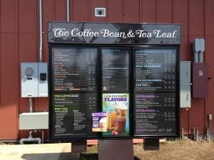 A photo of the drive-thru menu at Kea'au Shopping Center's newest addition, The Coffee Bean & Tea Leaf. Photo: Jamilia Epping.