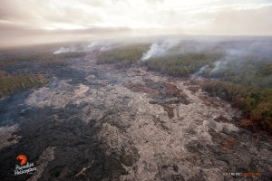 This photo, taken May 6, shows a view of the distal tip of the June 27 lava flow from the reverse angle. Photo credit: Extreme Exposure Media/Paradise Helicopters.