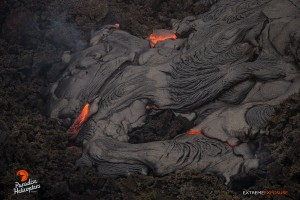June 18: Another finger of pahoehoe covers some old 'a'a. Photo: Extreme Exposure Media/Paradise Helicopters.
