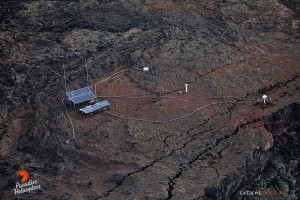 2015 06 25 - Puna, Hawaii:  Solar powered instruments sit of the edge of Pu'u 'O'o crater.   The one on the far right is a webcam that provides HVO geologists a real time view of what's occurring on the crater's floor.    Photo: Extreme Exposure Media/Paradise Helicopters
