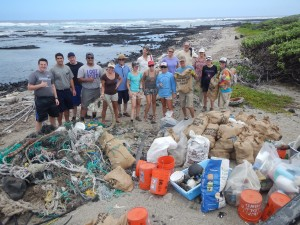 Group shot of HWF's community cleanup at Kamilo Point on March 28, 2015, where 1,300 pounds of debris was removed by 27 volunteers. HWF photo.