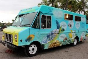 Driver side of Kahalu'u Bay Education Center's new mobile unit. Photo courtesy of The Kohala Center.