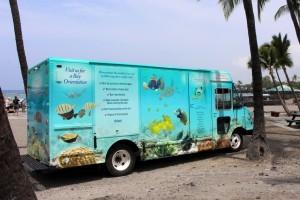 Passenger side of Kahalu'u Bay Education Center's new mobile education unit. Photo courtesy of The Kohala Center.