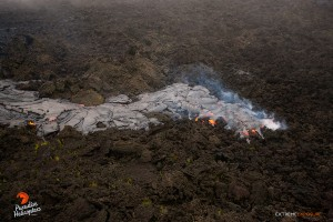 June 18: A lobe of pahoehoe snakes over an old 'a'a field. Photo: Extreme Exposure Media/Paradise Helicopters.