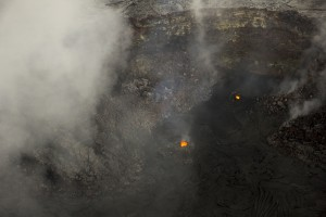 June 30: A view of the southern portion of Puʻu ʻŌʻō crater, where two small incandescent vents have been active recently. USGS/HVO photo.
