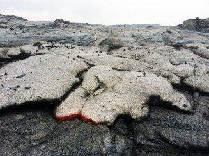 June 30: A closer view of the one of the pāhoehoe breakouts near Puʻu Kahaualeʻa. The dark flakes on the surface are bits of crust from the underlying flow that get stuck to the front of the newer flow, and end up on the top surface as the nose of the new flow inflates. USGS/HVO photo.