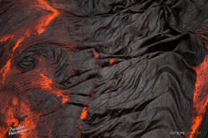 July 9: The wrinkly skin of pahoehoe.  Photo: Extreme Exposure Media/Paradise Helicopters.