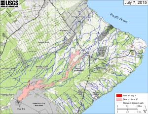 This small-scale map shows Kīlauea's active East Rift Zone lava flow in relation to lower Puna. The area of the flow on June 30 is shown in pink, while widening and advancement of the flow as of July 7 is shown in red. The blue lines show steepest-descent paths calculated from a 1983 digital elevation model.. Puʻu ʻŌʻō lava flows erupted prior to June 27, 2014, are shown in gray. USGS/HVO map.