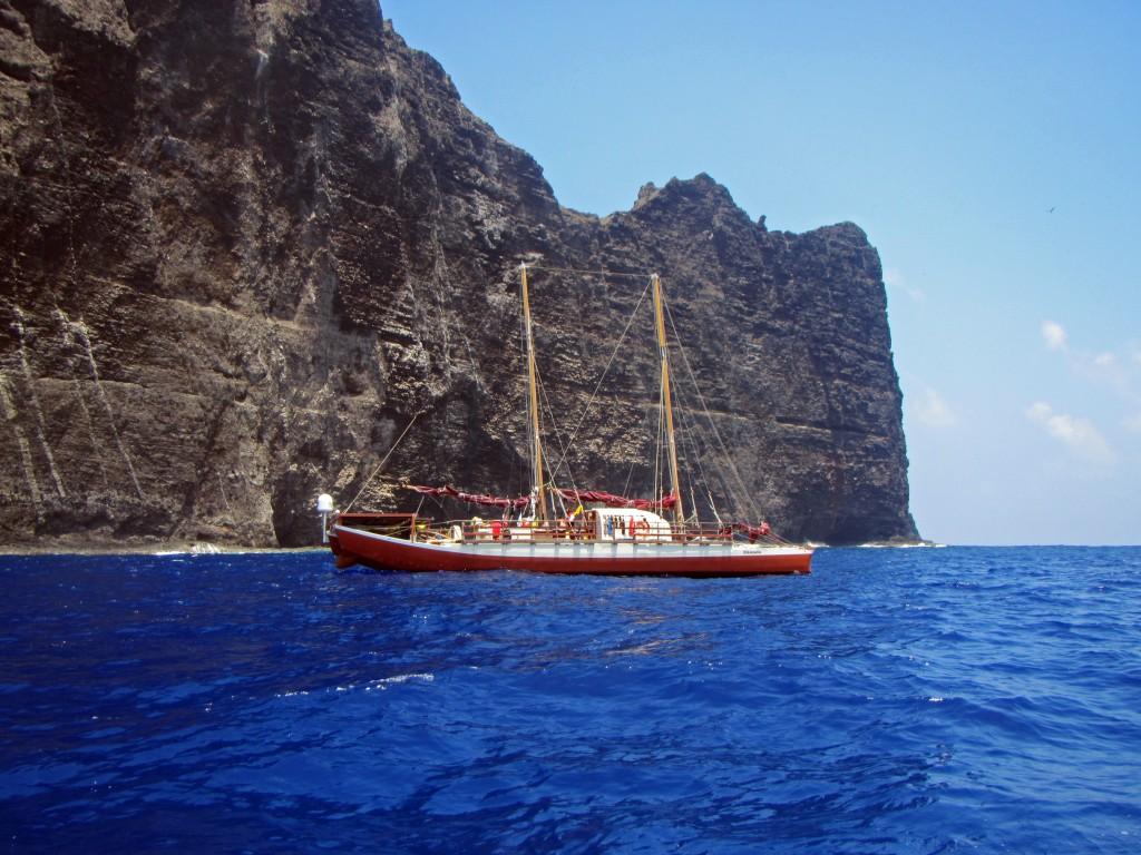 The Hikianalia off Nihoa in Papahānaumokuākea Marine National Monument. Credit: Hoku Johnson/NOAA.