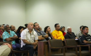 Samuel Kaleikoa Kaeo, Andre Perez and Chase Kahookahi Kanuha sit in front of Judge Barbara Takase Thursday morning in Waimea's Hamakua District Court. The three were arrested on June 24 for an obstruction charge after participating in a blockade on Mauna Kea that prevented Thirty Meter Telescope construction crews from driving up to the mountain's summit.