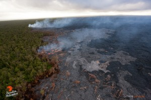 July 9: Activity along the northern tree line, 2-3 miles north of Pu'u 'O'o, continues to be quite robust.  Photo: Extreme Exposure Media/Paradise Helicopters.