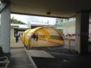 Triage tents erected at Kona Community Hospital Emergency Room ambulance bay. Kona Community Hospital photo.