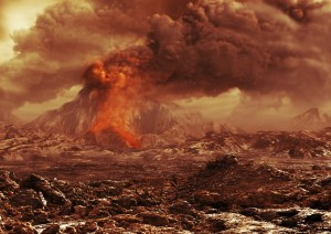 Is there volcanic activity on Venus?  This artistic rendering shows how an erupting Venusian volcano might look. Image courtesy of the European Space Agency.