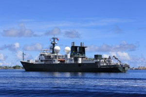 Research vessel Falkor sailed from Majuro, Marshall Islands to Honolulu over a three week periods across the Central Pacific equator. Photo credit: SOI/Carlie Wiener.