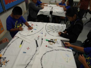 Students participate in the Hawai'i Red Cross' Pillowcase Project. Hawai'i Red Cross photo.