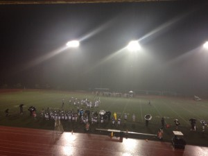 Heavy rain fell for most of the night Friday as Konawaena and Kamehameha-Hawai'i met at Paiea Stadium. This shot was taken during the junior varsity contest. Photo by Josh Pacheco.