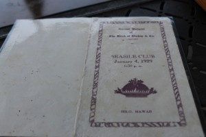 """An image of an old menu from the restaurant, formally called """" the Seaside Club."""" Photo by: Megan Moseley"""