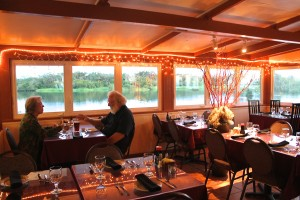A couple is seen here dining at The Seaside Restaurant & Aqua Farm.