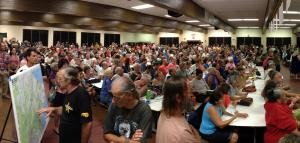 Crowded public meeting held in Pahoa by officials from County of Hawaii and USGS HVO. Credit: USGS.
