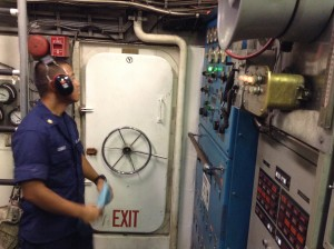 Electrician's Mate First Class Florito Conales in the Kiska's engine room.. Photo credit: Jamilia Epping.