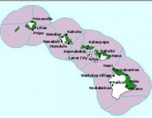 The green represents areas covered by the high surf warning. National Weather Service image.