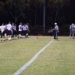 Hilo prepares to line up for an offensive play. Photo by Jamilia Epping.