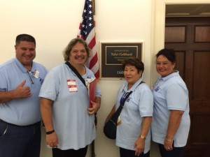 (Left to Right) Douglas DuPont, ACS CAN volunteer from Hilo; Mark Vasconcellos, breast cancer survivor from Honolulu; Gay Okada, ACS CAN volunteer from Kailua-Kona; and Holly Ho-Chee-Dupont, Hawaii State Lead Ambassador for ACS CAN from Hilo visit Congresswoman Tulsi Gabbard's office on Capitol Hill. ACS CAN photo.