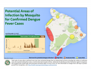 Hawai'i Department of Health image as of Nov. 18. The map includes the number 72 for confirmed dengue fever cases. As of Nov. 20 at 10 a.m. the count of confirmed cases is 88.