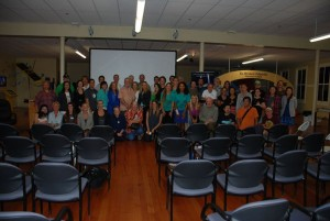 Photo of the symposium attendees after Friday night's public event. HWF photo.