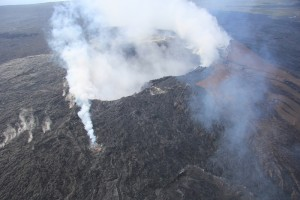 Skylight onto lava pond on the northeast spillway. HVO photo taken on Dec. 17.