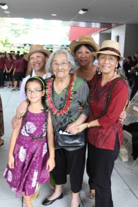 Gail Makuakane-Lundin with her daughters Annie, Teresa and Lydia andgreat-granddaughter Moanilehua Shimose, who attends Ka `Umeke o Ke Ka`eo (a Hawaiian language immersion charter school in Hilo), at the Hale `Olelo Blessing in January 2014. University of Hawai'i Foundation courtesy photo.