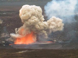 Hawaiian Volcano Observatory webcams captured this small explosion triggered by rocks falling from the Halema'uma'u Crater wall into the lava lake on May 3, 2015, when the lake surface was just below the vent rim. USGS image.