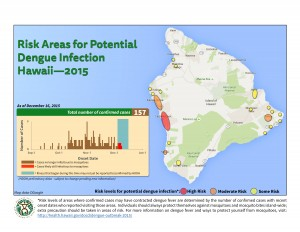 """The Department of Health issued an update on Wednesday to its """"risk area"""" map, which shows areas with high, moderate, or some risk of catching dengue fever. DOH image."""