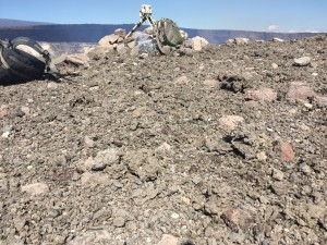 The rim of Halemaʻumaʻu Crater was covered in a nearly continuous blanket of tephra following following the Jan. 8 rockfall and subsequent explosive event. HVO photo.