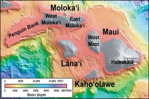 """In this shaded relief and bathymetric map of Maui County, colors indicate water depth, from shallow (orange and yellow) to deep (blue and purple), with shades of gray indicating island areas above sea level. From: U.S. Geological Survey Geologic Investigations Series Map I-2809, """"Hawaiʻi's Volcanoes Revealed."""""""