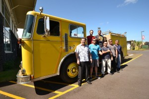 Hawai'i Community College Fire Science students and instructors from the Fire Science and Diesel Mechanics programs stand with the fire engine donated recently by the Honolulu Fire Department. Back row: Matthew Winters, left, and Jacob Smith. Front row, left to right: Fire Science Instructor Jack Minassian, Kawai Ronia, Jayce Ah Heong, Michael Rangasan, and Diesel Mechanics Instructor Mitchell Soares. Hawai'i CC courtesy photo.