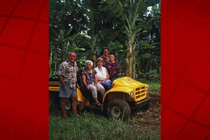 Richard with his mother Florence Ha, wife June Ha, son-in-law Kimo Pa, and daughter Tracy Pa. Hamakua Springs Country Farm photo.