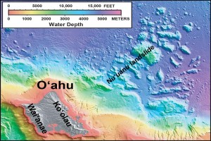 """In this shaded relief and bathymetric map of O'ahu, which comprises two volcanoes (Waiʻanae and Koʻolau), colors indicate water depth, from shallow (orange and yellow) to deep (purple), with shades of gray indicating the island area above sea level. From: U.S. Geological Survey Geologic Investigations Series Map I-2809, """"Hawaiʻi's Volcanoes Revealed""""."""