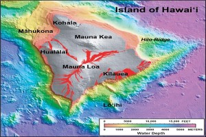 ": In this shaded relief and bathymetric map of the Island of Hawai'i, colors indicate water depth, from shallow (orange and yellow) to deep (blue and purple), and shades of gray indicate the land area above sea level. From: U.S. Geological Survey Geologic Investigations Series Map I-2809, ""Hawaiʻi's Volcanoes Revealed."""