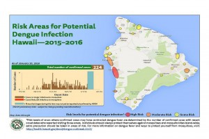 The Hawai'i Department of Health updated its map of potential areas of dengue fever infection, based on confirmed case information as of Wednesday, Jan. 20. DOH image.