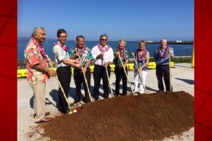 State executives and dignitaries gather to celebrate the groundbreaking of the Pier 4 Inter-Island Cargo Terminal, the final phase of the Pier 4 project at Hilo Harbor. From left to right: Senator Gilbert Kahele; Roy Catalani, Vice President, Young Brothers, Limited; Darrell Young, HDOT Deputy Director Harbors Division; Wil Okabe, Governor David Ige's Representative; Representative Clift Tsuji; Senator Lorraine Inouye; Rick Heltzel, Hawaii Harbors Constructors JV. DOT courtesy photo.