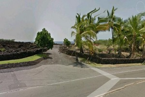 """The Google Earth image shows the unpaved road leading to the """"End of the World"""" shoreline past Ali`i Drive in Keauhou."""