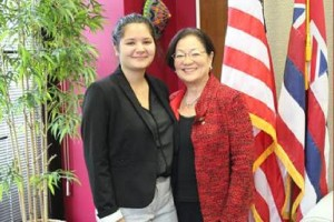 Senator Hirono with her State of the Union guest, Hawaii native Sierra Schmitz. Photo courtesy of the Office of Mazie Hirono.