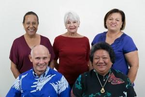 Na'i Aupuni Board of Directors. Top Left to Right: Kealoha Ballesteros, Gerry Miyamoto, Lehua Schuelke. Bottom Left to Right: J. Kūhiō Asam, Pauline Namuʻo. Na'i Aupuni photo.