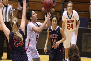 UH-Hilo guard Vanessa Mancera goes to the basket against Dixie State on Thursday. UH-Hilo photo.