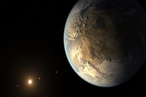 Artist's concept of a rocky Earth-sized exoplanet in the habitable zone of its host star. NASA/SETI/JPL image.