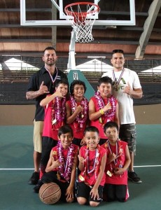Team members from Alakai pose for a team photo after winning the HI-PAL Winter Basketball Classic boys 8-and-under division. HI-PAL photo.